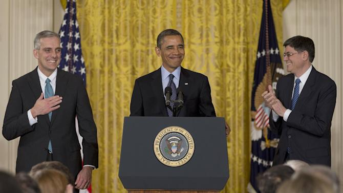 President Barack Obama, with current White House Chief of Staff Jack Lew, right, announces that he will name current Deputy National Security Adviser Denis McDonough,left, as his next chief of staff, Friday, Jan. 25, 2013, in the East Room of the White House in Washington. (AP Photo/Carolyn Kaster)