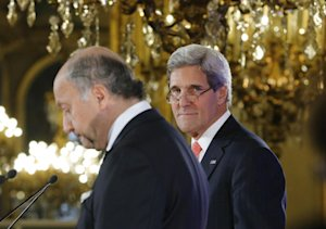 U.S. Secretary of State John Kerry, right, and France's…