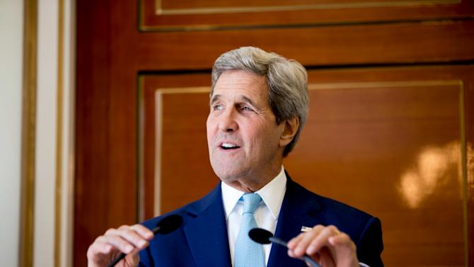 U.S. Secretary of State John Kerry speaks during a joint press conference with Foreign Minister Mahamoud Ali Youssouf at the Presidential Palace, in Dijbouti