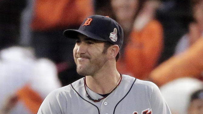 Detroit Tigers' Justin Verlander reacts after giving up an RBI single to San Francisco Giants' Marco Scutaro in the third inning, of Game 1 of baseball's World Series Wednesday, Oct. 24, 2012, in San Francisco. (AP Photo/Charlie Riedel)