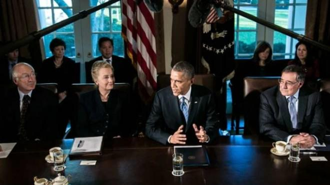 President Obama meets with cabinet members on Nov. 28 amid discussions regarding the looming fiscal cliff.