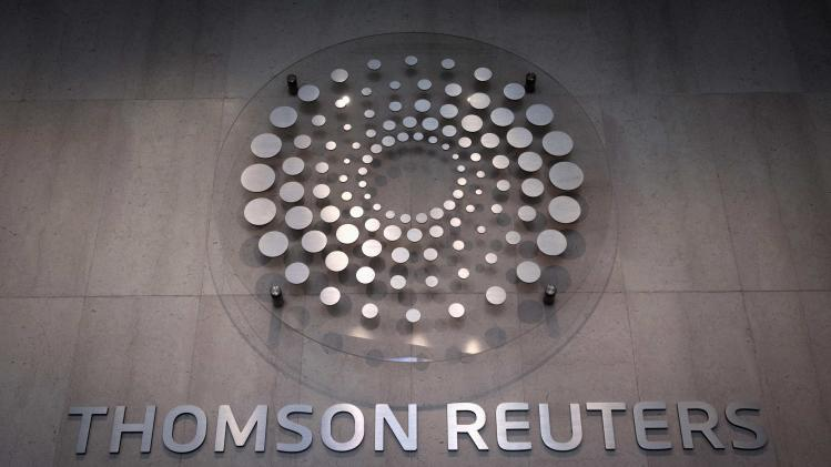 File photo of the Thomson Reuters logo inside lobby of company building in Times Square, New York