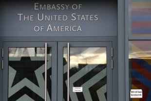 The entrance to the US embassy is pictured in Berlin October 28, 2013. A German newspaper said on Sunday that US President Barack Obama knew his intelligence service was eavesdropping as long ago as 2010. — Reuters pic