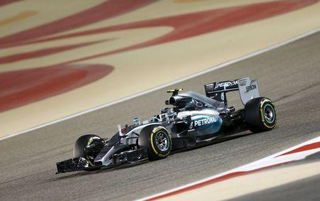 Mercedes Formula One Driver Nico Rosberg of Germany drives during second free practice ahead of Bahrain's F1 Grand Prix at Bahrain International Circuit, south of Manama