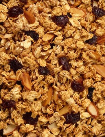 Granola, raisins and fruits