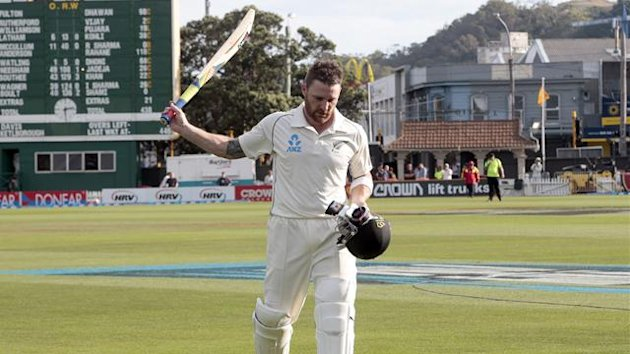 New Zealand's Brendon McCullum leaves the field on 281 not out against India during the second innings at the end of play on day four of the second international test cricket match at the Basin Reserve in Wellington, February 17, 2014. REUTERS