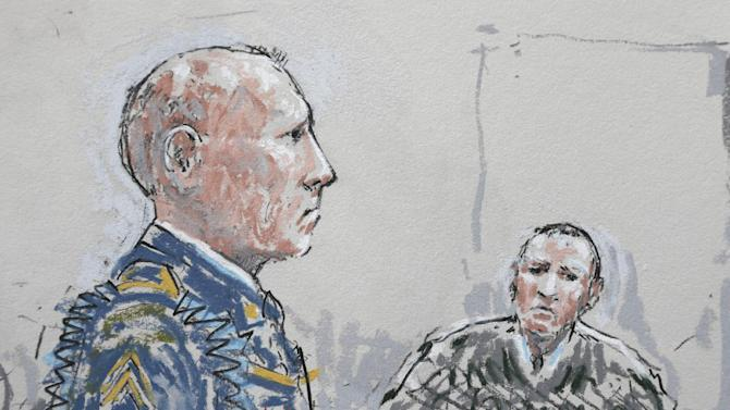 In this detail from a courtroom sketch, U.S. Army Staff Sgt. Robert Bales, left, stands before military judge Col. Jeffery Nance, right, Wednesday, June 5, 2013, during a plea hearing in a military courtroom at Joint Base Lewis-McChord in Washington state. Bales pleaded guilty to multiple counts of murder, stemming from a pre-dawn attack on two villages in Kandahar Province in Afghanistan in March, 2012. (AP Photo/Peter Millett)