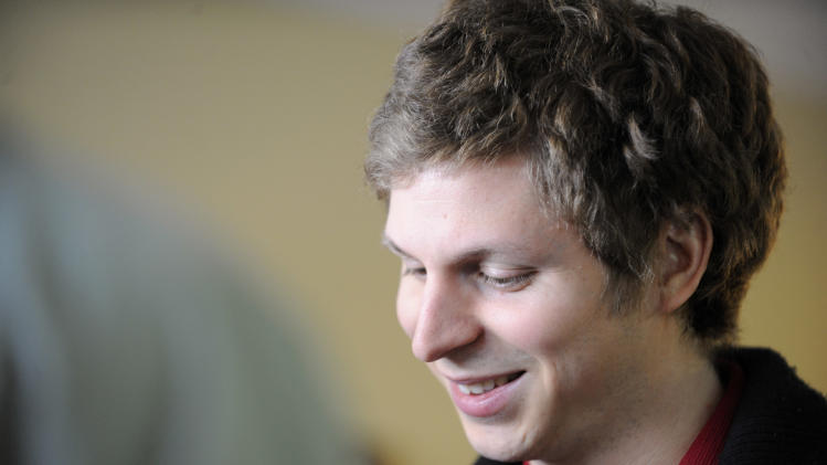 Actor Michael Cera visits the Fender Music lodge during the Sundance Film Festival on Friday, Jan. 18, 2013, in Park City, Utah. (Photo by Jack Dempsey/Invision for Fender/AP Images)