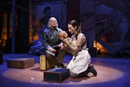"This theater publicity image released by The Publicity Office shows Christopher Lloyd, left, and Elizabeth A. Davis in a scene from Bertolt Brecht's ""The Caucasian Chalk Circle"", currently performing off-Broadway at Classic Stage Company in New York. (AP Photo/The Publicity Office; Joan Marcus)"