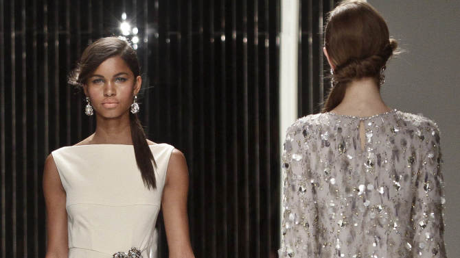 Fashion from the Spring 2013 collection of Jenny Packham is modeled on Tuesday, Sept. 11, 2012 in New York.  (AP Photo/Bebeto Matthews)