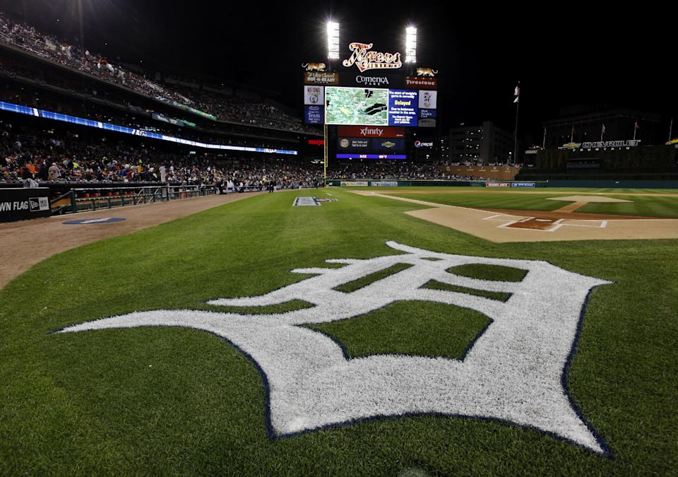 The Detroit Tigers logo is seen during  a rain delay at Game 4 of the American League championship series against the New York Yankees Wednesday, Oct. 17, 2012, in Detroit. (AP Photo/Paul Sancya )