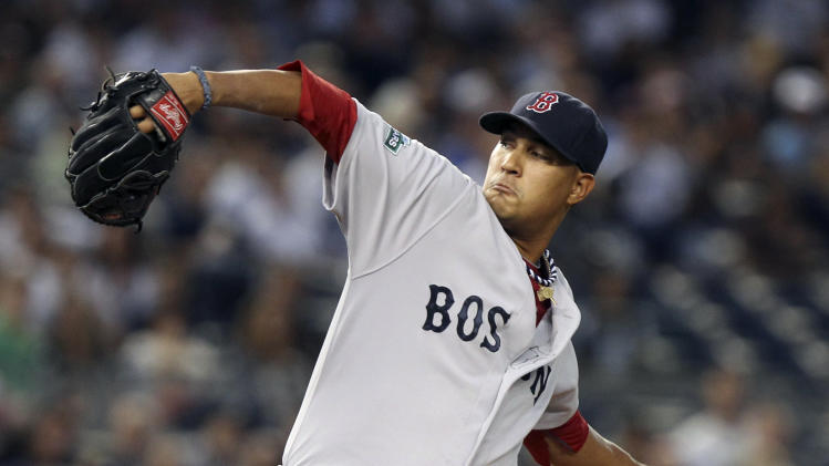 Boston Red Sox's Felix Doubront pitches during the first inning of a baseball game against the New York Yankees at Yankee Stadium in New York, Sunday, July 29, 2012. (AP Photo/Seth Wenig)