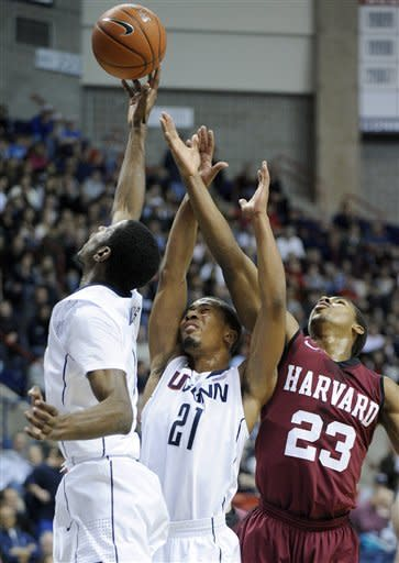 UConn topples Harvard 57-49