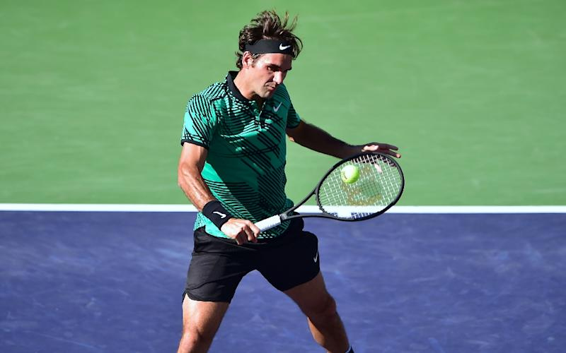 Roger Federer, pictured in action on March 19, 2017, captured his 90th career title in Indian Wells (AFP Photo/FREDERIC J. BROWN)