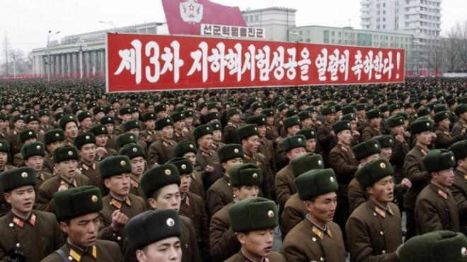 North Korean soldiers attend a Feb. 14 rally at Kim Il Sung Square to celebrate the success of the country's recent nuclear test.