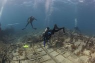 NOAA divers surveying and taking measurements above the wreck of the Hannah M. Bell in September, 2012, off the coast of Key Largo, Fla.