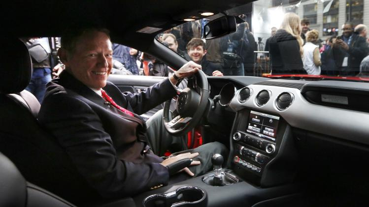 Ford Motor Co. CEO Alan Mulally sits in the driver seat of its all new 2015 Ford Mustang on ABC's Good Morning America in New York