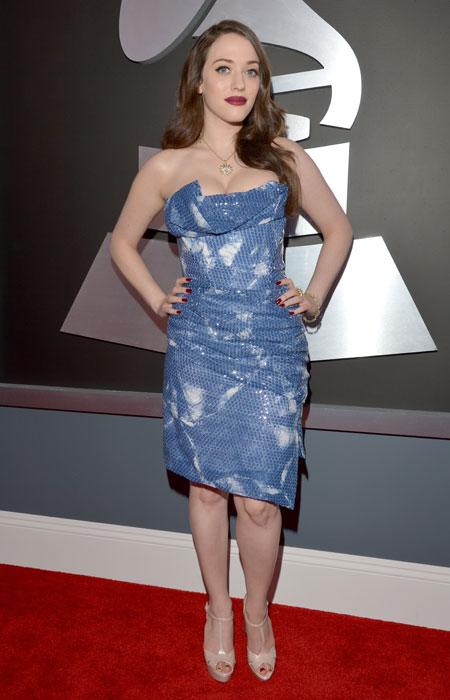 Actress Kat Dennings attends the 55th Annual GRAMMY Awards at STAPLES Center on February 10, 2013 in Los Angeles, California. (Photo by Lester Cohen/WireImage)