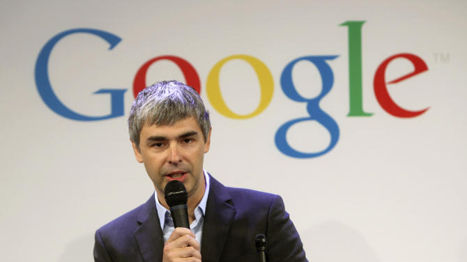 FILE- In this Monday, May 21, 2012, file photo, Google CEO Larry Page speaks at a news conference at the Google offices in New York, Monday, May 21, 2012. Page disclosed Tuesday, May 14, 2013, that he has a problem with his vocal cords that makes it difficult for him to speak and breathe occasionally, but he says he remains fit enough to keep running the Internet's most influential company. (AP Photo/Seth Wenig)