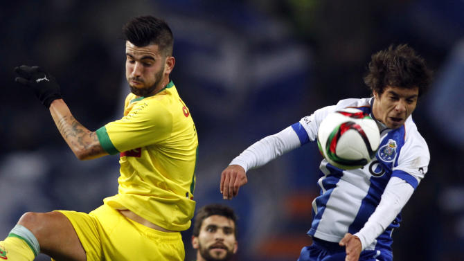 Porto's Oliver fights for the ball with Pazos de Ferreira's Sergio during their Portuguese Premier League soccer match at Dragao stadium in Porto