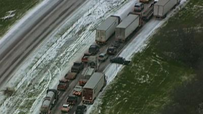 Raw: Weather Brings Dallas Traffic to Standstill