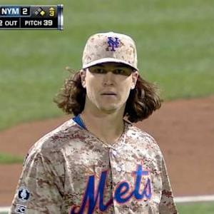 deGrom fans eight to start