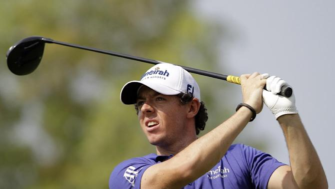 Rory McIlroy of Northern Ireland plays a ball on the 2nd hole during the round one of DP World Golf Championship in Dubai, United Arab Emirates, Thursday Nov. 22, 2012. (AP Photo/Kamran Jebreili)