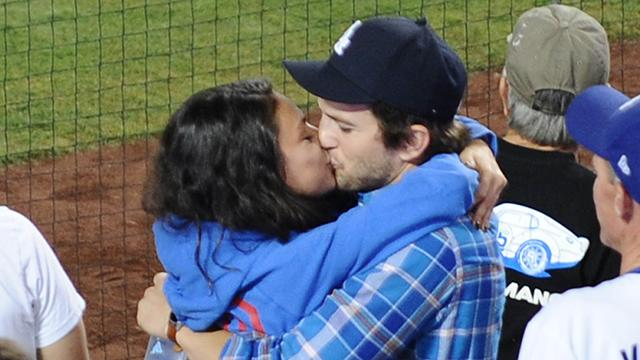 Ashton Kutcher and Mila Kunis Have an Adorable PDA-Filled Date Night at the Dodgers Game