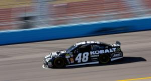 Jimmie Johnson drives during practice for the NASCAR…