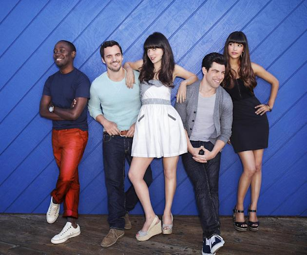 "FILE - In this publicity file photo released by FOX, ""New Girl"" cast from left, Lamorne Morris, Jake Johnson, Zooey Deschanel, Max Greenfield and Hannah Simone are shown.  (AP Photo/FOX, Dewey Nicks,"