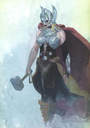 """This image released by Marvel Comics shows a female superhero who will appear in upcoming Thor comic book issues. The new Thor was debuted on """"The View"""" where artwork was revealed showcasing a buxom blonde clad in a caped costume and brandishing the trademark hammer. Series writer Jason Aaron said in a statement that """"This is not She-Thor. This is not Lady Thor. ... This is THE Thor."""" (AP Photo/Marvel Comics)"""