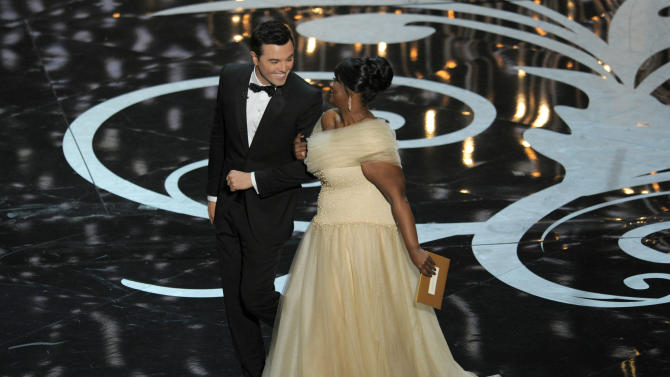 Host Seth MacFarlane, left, and actress Octavia Spencer walk onstage during the Oscars at the Dolby Theatre on Sunday Feb. 24, 2013, in Los Angeles.  (Photo by Chris Pizzello/Invision/AP)