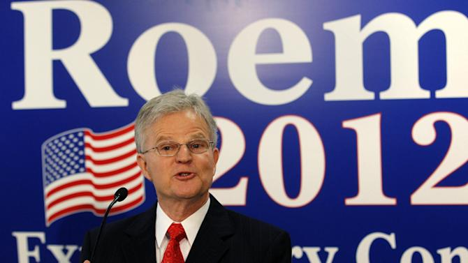 "FILE - In this March 3, 2012 file photo, Former Louisiana Gov. Charles 'Buddy' Roemer gestures during a news conference in Baton Rouge, La., to announce that he is forming an exploratory committee for a 2012 White House bid.  Only two presidential candidates have applied for and received federal matching campaign funds this election cycle year, and they're hardly household names. One is Roemer, who suspended campaigning late last week ""after 17 months of a wonderful campaign.""  (AP Photo/Gerald Herbert, File)"