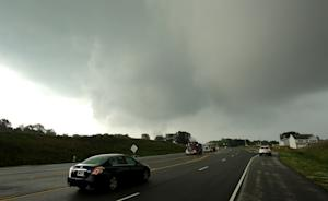 Storm clouds are seen from Ronald Reagan Parkway, Tuesday,…