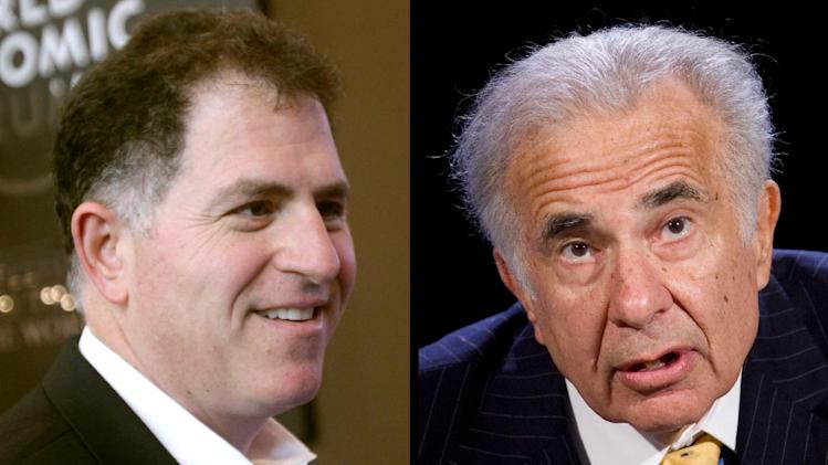 This combination of Associated Press file photos shows, left, Dell founder Michael Dell, left, on Jan. 26, 2011, and Carl Icahn, on Oct. 7, 2007. Dell  board members say they need more details from investor Carl Icahn if he wants them to speciously consider his latest challenge to Michael Dell's $2.4 billion plan to take the computer maker private. (AP Photos/Dell-Virginia Mayo, Icahn-Mark Lennihan)