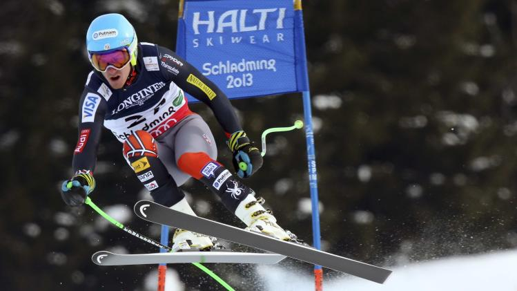 United States' Ted Ligety speeds down the course during the downhill portion of the men's super-combined, at the Alpine skiing world championships in Schladming, Austria, Monday, Feb.11, 2013. (AP Photo/Luca Bruno)