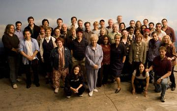 Writer/director Paul Greengrass with the cast and crew of Universal Pictures' United 93