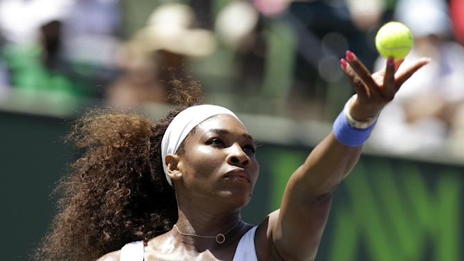 Serena Williams serves to Maria Sharapova, of Russia, during the final match of the Sony Open tennis tournament, Saturday, March 30, 2013, in Key Biscayne, Fla. (AP Photo/Lynne Sladky)