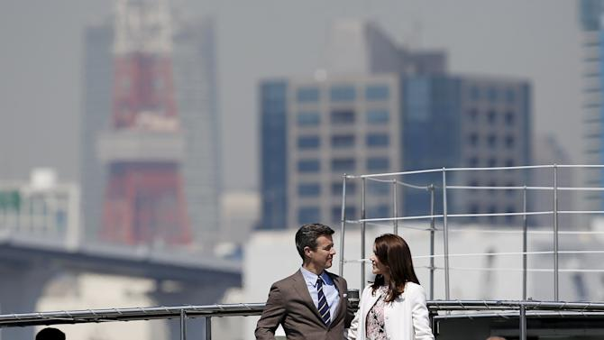 Denmark's Crown Prince Frederik and his wife Crown Princess Mary take a boat trip in Tokyo Bay, for briefing on preparations for the Olympic Games in 2020, in Tokyo