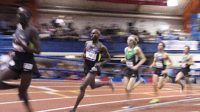 Bernard Lagat, second from left, competes in the Men's 2-mile event during the 106th Millrose Games Saturday, Feb. 16, 2013, in New York. Lagat won the event with a time of 8:09.49. (AP Photo/Frank Franklin II)