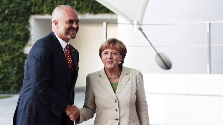 "German Chancellor Merkel welcomes Albanian Prime Minister Rama at the ""West Balkan Conference"" in Berlin"