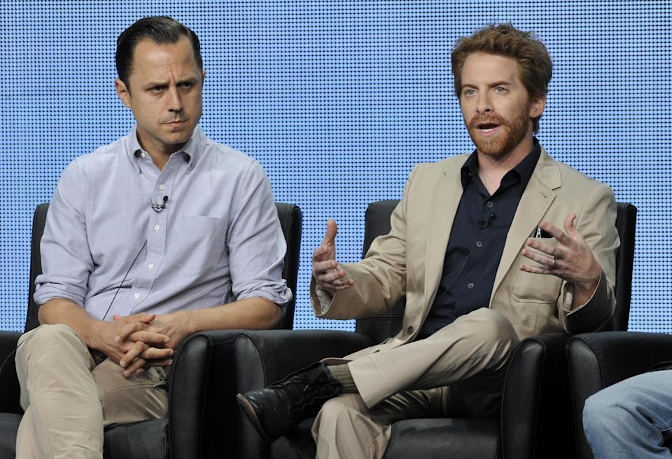 "Seth Green, right, a cast member on the FOX series ""dads,"" answers a question as fellow cast member Giovanni Ribisi looks on during the FOX 2013 Summer TCA press tour at the Beverly Hilton Hotel on Thursday, Aug. 1, 2013 in Beverly Hills, Calif. (Photo by Chris Pizzello/Invision/AP)"