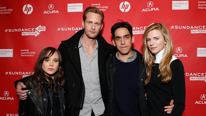"""From left, actors Ellen Page, Alexander Skarsgard, director Zal Batmanglij and actress Brit Marling attend Fox Searchlight's """"The East"""" premiere during the Sundance Film Festival on Sunday, Jan. 20, in Park City, Utah. (Photo by Todd Williamson/Invision for Fox Searchlight/AP Images)"""