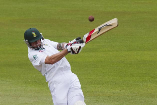 South Africa's Steyn plays a shot during the fourth day of the second test cricket match against India in Durban