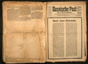 A digitalised image of the front page of the June 30, 1914 edition of the Bosnische Post, after the assassination of the heir to the Habsburg throne, Archduke Franz Ferdinand