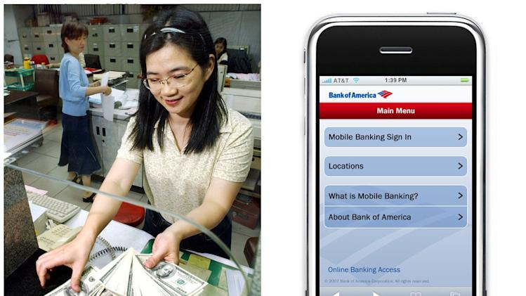 This combination of Associated Press file photos shows, left, a teller at the Taipei Bank,  in 2002, in Taipei, Taiwan, and the 2011 Bank of America mobile application on a mobile device. Many middle-class workers have lost jobs because powerful software and computerized machines are doing tasks that only humans could do before. (AP Photo)