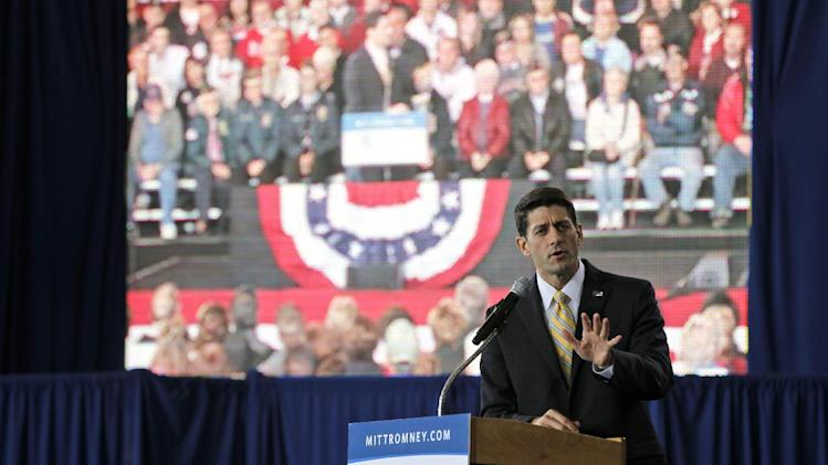 Republican vice presidential candidate, Rep. Paul Ryan, R-Wis. speaks during a campaign event, Monday, Oct. 8, 2012, in Swanton, Ohio.  (AP Photo/Mary Altaffer)