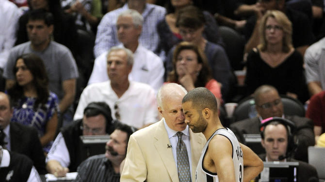 San Antonio Spurs head coach Gregg Popovich, left, talks with Spurs' Tony Parker, of France, during the second half of Game 1 of the Western Conference final NBA basketball playoff series against the Memphis Grizzlies, Sunday, May 19, 2013, in San Antonio. San Antonio won 105-83. (AP Photo/Darren Abate)
