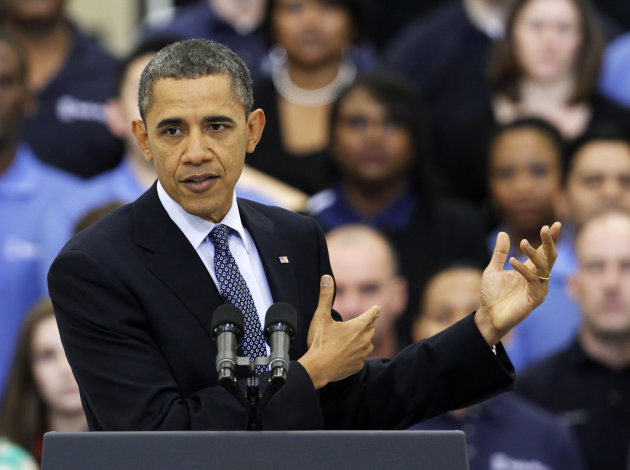 President Barack Obama gestures during a speech on the economy,Friday, March 9, 2012, at the Rolls Royce aircraft engine part production plant in Prince George, Va. (AP Photo/Steve Helber)