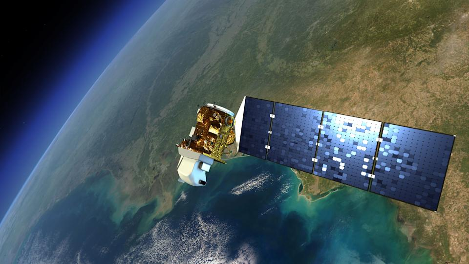This artist rendering released by NASA shows the Landsat satellite in orbit around Earth. The satellite is slated to launch  Monday, Feb. 11, 2013 from Vandenberg Air Force Base, Calif. It's the eighth satellite in a program that began in 1972. (AP Photo/NASA)